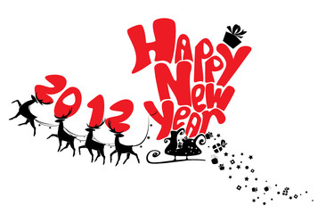 New Year card with flying reindeers