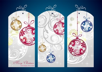 Christmas cards decorated with a blue background