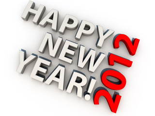 Happy new year 2012, over white background
