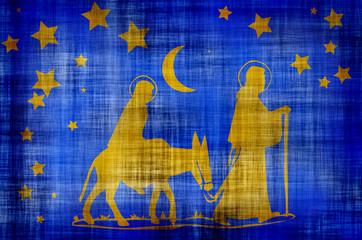 Mary,joseph and baby walking in desert.