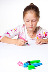 little child drawing on a white background.