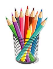 Colored Pencils in Desk Organizer