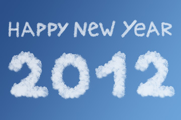 Happy new year 2012 clouds concept