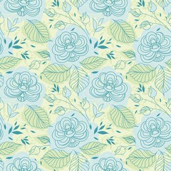 delicate blue flowers seamless pattern
