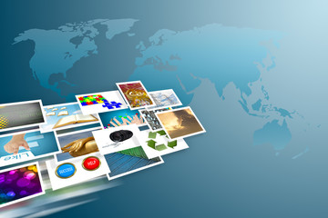 social media cocept and images streaming around the world