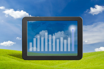 tablet pc on green grass meadow