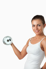 Portrait of a young woman working out