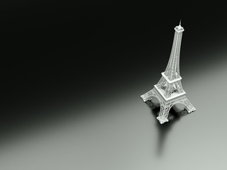3d illustration of the eiffel tower on a black reflective ground