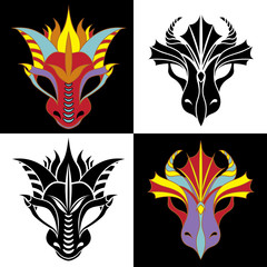 Dragon mask set. Stencil and colored variant
