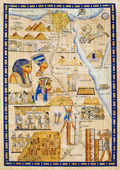 Printed roller blinds Egypt Antique Egypt map drawn on papyrus