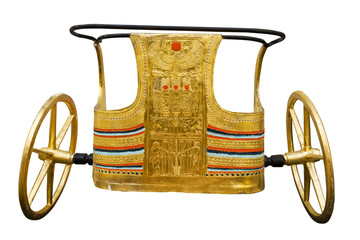 Copy of Tutankhamen's ceremonial chariot isolated