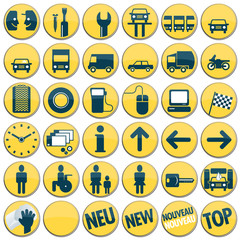 Autowerkstatt, Tankstelle, Service, Symbole, Werbung