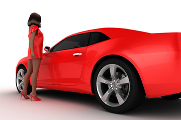 woman with concept car