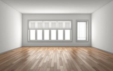 stanza vuota con finestre