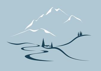 Alpine Landschaft Wall mural