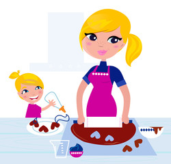 Cute Girl helping her Mother with christmas baking..
