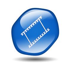 Boton brillante azul hexagonal simbolo film