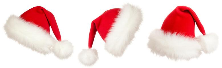 set of three Christmas Santa hats