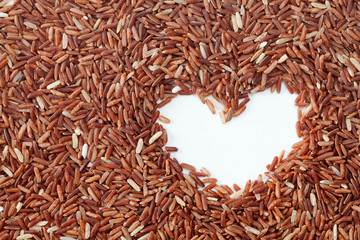 Brown rice with heart shape