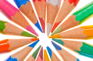 color pencils circle isolated