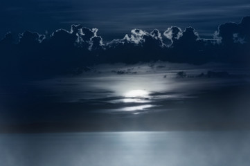 The moon over lake.