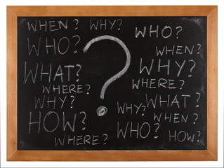 Questions whitten on blackboard