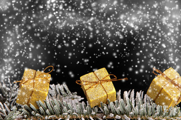 Christmas gifts covered with snow