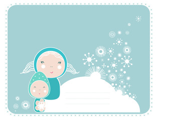 Cartoon fairy girls with snow , christmas card.