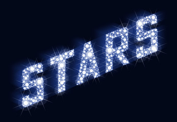 A lot of stars result in the lettering STARS. llustration on black background.
