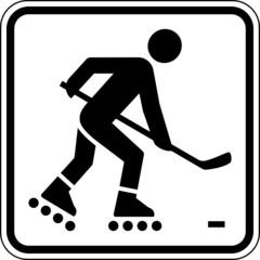 Fototapete - Streethockey Inlinehockey Schild Zeichen Symbol