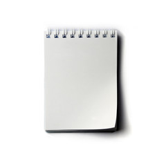 white paper notepad isolated.