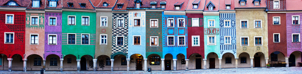 Panorama of facades of houses of old Poznan, Poland