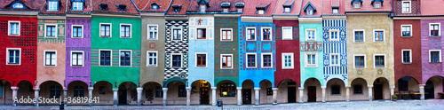 Fototapete Panorama of facades of houses of old Poznan, Poland