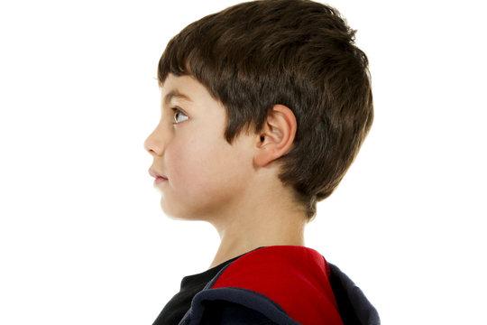 portrait of little boy on white background