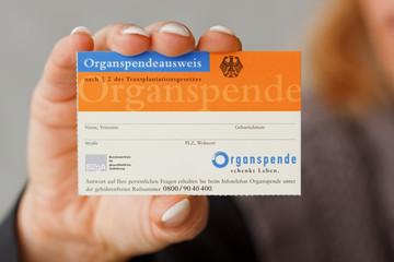 Organspendeausweis wird präsentiert