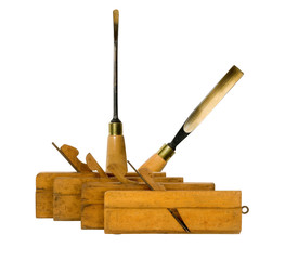 variety of plane and chisel on a white background