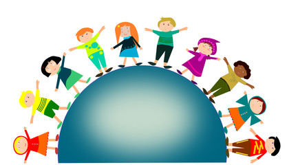Photos illustrations et vid os de farandole - Dessin groupe d enfants ...