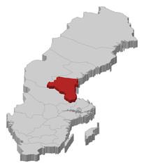 Map of Sweden, Gävleborg County highlighted