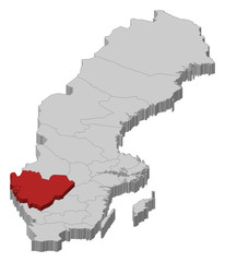 Map of Sweden, Västra Götaland County highlighted