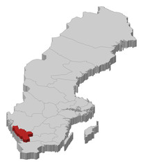 Map of Sweden, Halland County highlighted