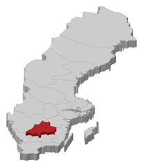 Map of Sweden, Jönköping County highlighted