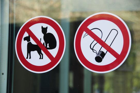 Aufkleber Tierverbot Rauchverbot