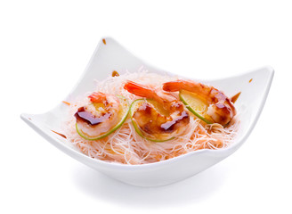 Fried shrimp with boiled noodles