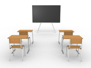 Illustration of an empty classroom. Concept of education