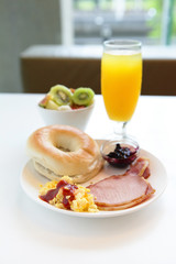 delicious breakfast with orange juice