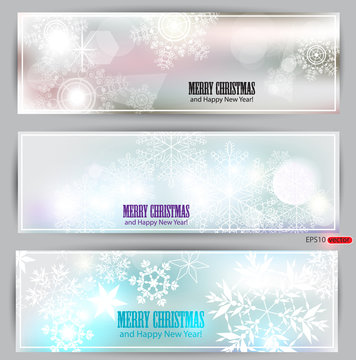 Set of elegant winter banners. Vector  illustration