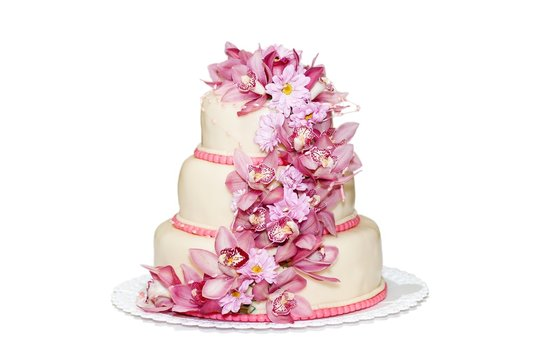 Traditional wedding cake with orchid flowers