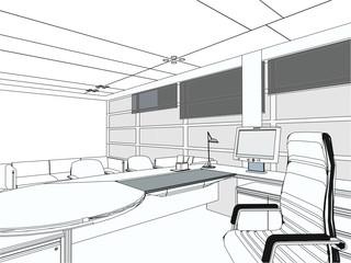 Interior Office Room Vector 05