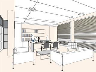 Interior Office Room Vector 04