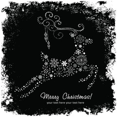 Ornate decorative Christmas deer card